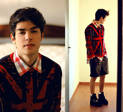 Vini Uehara - Doc Dog Tricot England Flag, Choies Leather Shorts With Trim, Solestruck A Buffalo X Original,, Tommy Hilfiger Shirt - Shh