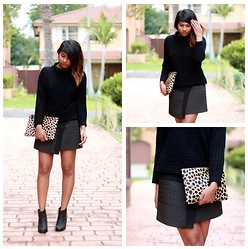 Ayesha W - David Lawrence Textured Knit, Zara Skirt, Miss Selfridge Ankle Boots - Leopard Chic