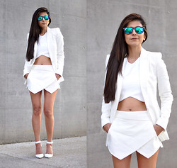 Maya Lorelei - Freyrs Mirrored Sunnies, Zara Cropped Top, Zara Blazer, Zara Skort, Stradivarius Ankle Strap Pumps - Minimum Maximum