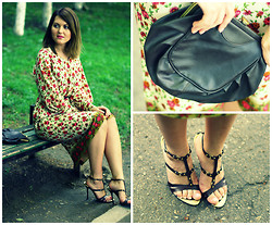 Erika Che - Vintage Bag, Gianmarco Lorenzi Gladiators Sandals, Self Design Floral Dress - Flowers for the Gladiators