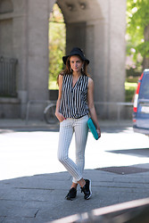 Isabelle Hawi - Zara Top, Zara Pants, Asos Sneakers, Marc By Jacobs Laptop Case, Yves Saint Laurent Earrings - Stripes on stripes - Style with Isabelle