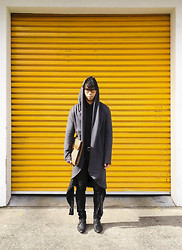 Chin from FOUREYES - Chronicles Of Never Coat, Lee Jeans, Chronicles Of Never Shirt, Charles Jourdan Bag, Asos Boots - Grey Hood