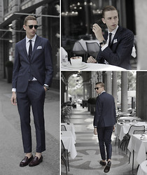 Oliver Lips - Garrett Leight Sunglasses, Oscar Jacobson Suit, Victorinox Watch - Un caffè a Milano