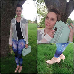 Pauline - Forever 21 Galaxy Print Leggings, Coach Bag, Franco Sarto Single Scallop Paten Leather Heel, Abercrombie Sheer Top - Robin Egg Blue & Other Pastels in the Galaxy (on my blog)