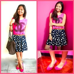 Lea Esguerra - Chanel Pink Muscle Tee With Print, 999 Blue Skirt With Printed Hearts, Solemate Pink Ballet Flats, Longchamp Handbag, Brown Belt - It's about time.