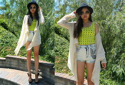 Joanna Tam - Forever 21 Crop Top, Urban Outfitters High Waisted Shorts, Cardigan, Nordstrom Heels - Neon Hearts.