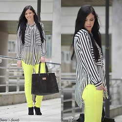 Paula Deiros - Zara Shirt, Stradivarius Necklace, Nua Moda Pants, Mango Bag, Pull & Bear Booties - Neon Pants