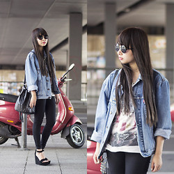 Van Anh L. - Primark Sunglasses, Vintage Denim Jacket, New Look Bag, Topshop Black Skinny Jeans, Urban Outfitters Wedges - Dad's Old Denim