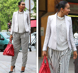 Scheena Donia - Sandro Silver Jacket, Zara Striped Pants, Zara Floral Shirt, Yves Saint Laurent Ysl, Christian Louboutin Pumps - Trends in the city