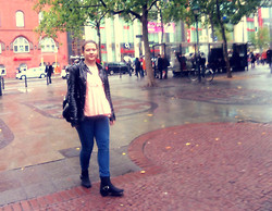 Anna M - Nelly Black Label, New Yorker Leather Jacket - - walking around in Berlin