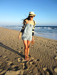 Katie Reyes - Forever 21 Hat, Anthropologie Striped Sweater, Abercrombie & Fitch Chambray Romper, Target Sandals, Urban Outfitters Sunglasses - Sand in My Toes