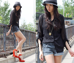 Sabrina Kwan - Orange Wedges, Studded Chiffon Blouse, Denim Shorts - Thunder