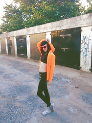 GlitterFace X - Ebay Cat Eye Shades, Primark Fluorescent Orange Hoody, E Bay Little Black Crop Top, E Bay Wet Look Leggings, Tk Maxx Silver Mini Platform Cons - 'That day' when everything goes crazy