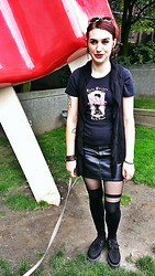 Britt B - Lucky 13 Apparel T Shirt, Takeout Knitted Vest, H&M Faux Leather Skirt, Asos Over The Knee Striped Tights, T.U.K. Creepers - Giant Popsicle!