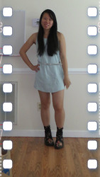 Juliet Ly - Diy Blue Racerback Dress, Walmart Silver Glitter Belt, Dr. Martens Floral Boots - Summer Casual