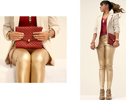 Chic Adventure It! By Giha - Sam Edelman Petty Boots, Mango Purse, Forever 21 Blazer, Thierry Lasry Glasses - Golden Leopard