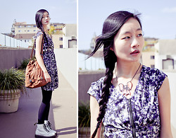 Ren Rong - H&M Abstract Front Zippered Dress, La Marelle Metal Bow Necklace, Gentle Fawn Brown Leatherette Hobo Bag, Dr. Martens Classic White 8 Eye Boots - The Grove