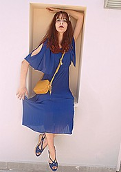 Stella Pnp - Romwe Off Shoulder Dress - Blue and yellow