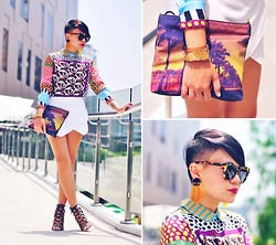 Kookie B. - Neon Island Tropical Print Clutch, Karen Walker Number One Sunglasses - Last Bit of Summer