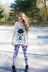 Ashley R - Gift Vintage Necklace, Loveculture Crochet Skull Tank, Loveculture Floral Leggings, Forever 21 Booties - Let it burn