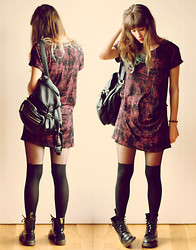 Blanche Clement - River Island Dress, C&A Backpack, Asos Tights, Dr. Martens Boots - HIGHSCHOOL REBEL