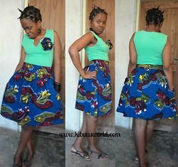 Violet K - Gree Top, Kibua Kitenge Skirt - High Waist Kitenge Skirt