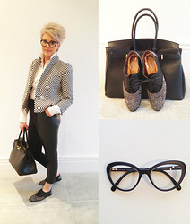 Amelia Tordoff - Zara Checkered Jacket, Chocalat D'or Crystallized Brougues, Italian Leather Tote, Chanel Glasses, H&M Leather Cropped Trousers - A Monochrome Kind of Day