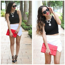 Daniela Ramirez - Furor Moda Black Crop Top, Furor Moda Jeweled Necklace, Furor Moda Red Satchel, Sheinside Asymmetrical White Skirt, Shoes, Furor Moda Sunglasses - Into B&W (with red)