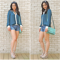 Kimberly Kong - Forever 21 Teal Blouse, Apt. 9 Cream Skinny Belt, Baublebar Mint Statement Necklace, Ag Denim Jean Shorts, Kate Spade Crossbody Bag, Candie's Nude Wedges, Marc By Jacobs Oversized Sunnies - I've Got the Blues