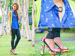 Laureen Uy - Purplish Bow Top, Plains And Prints Vest, Purplish Leggings, Purplish Bow Bag, Fab Czhik Bracelets, Extreme Finds Necklace, Randa Heels - Denim and Leather (BMS)
