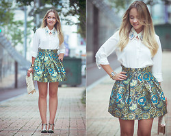 Olga Choi - Oasap Skirt, Goodnight Macaroon Blouse, Sammydress Shoes, Romwe Collar - Evergreen