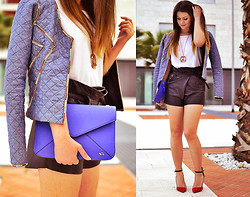 Nicoleta Buru - Maison Scotch Jacket, Zara Heels, Maison Scotch Shorts, Topshop Top, Carpisa Clutch - Maison Scotch my can't do less
