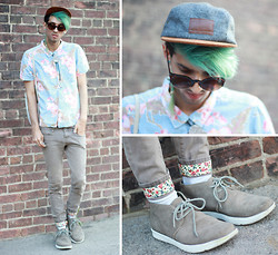 Bobby Raffin - Aeon Attire Wallflower Taper, Aeon Attire 5  Panel Hat, Aeon Attire Sunnies, Ohw? Suede Shoes, Black Market Floral Button Up - Wallflower // Aeon Giveaway 2