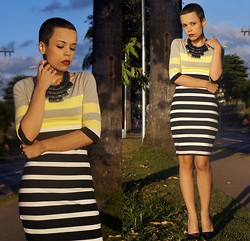 Priscila Diniz - Colcci Striped Dress, Colcci Statement Necklace - Big girl now