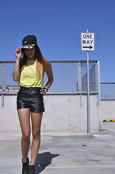 Jay Santiago - Stüssy Hat, Lulu & Rose Neon Muscle Tee, May Pleather Shorts, Chelsea's - One Way