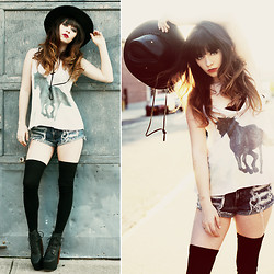 Rachel-Marie Iwanyszyn - Leather Hat, Wildfox Couture Stormy Cami, Jeffrey Campbell Lana Heels - THE WILD ROAD.