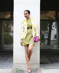 Scheena Donia - The Kooples Floral Print, Color Of Black, Bcbg Belt, Christian Louboutin Pump, Aldo Clutch - Color me yellow.