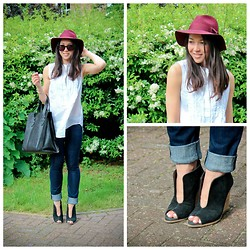 Bridg @ CalibratedChronicles.blogspot.com - Zara Wedges, H&M Felt Hat, Karen Walker Vest, Bracher Emden North South Shopper - Summer Days