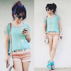 Faye Danielle - Urban Outfitters Mint Sunnies, Ross Mint Spiked Caged Shoulder Top, Shop Akira Hot Pants, Justfab Belfast, Forever 21 Accessories, Ds Styles Iphone Crystal Case - First Day of Summer '13