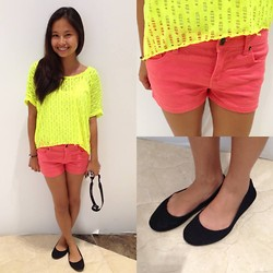 Lea Esguerra - Forever 21 Yellow Neon Ripped Top, Forever 21 Peach Shorts, Solemate Black Ballet Flats - You only live once