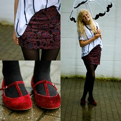 Louise O. - Urban Outfitters Tube Skirt, Asos T Shirt, Urban Outfitters Ballerina Shoes, Tigeren Umbrella - TORRENTIAL RAIN