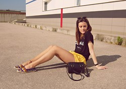 Thenebulosegirl . - Zara Espadrilles, Ray Ban Sunglasses, Choies Shorts, Céline Celine T Shirt, Zara Bag - EXPLOSIONS IN THE SKY