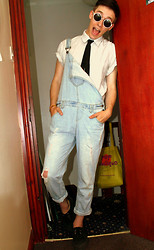 Richard M - Oxfam Short Sleeved Shirt, Primark Dungarees, Creepers - Taper Jean Girl