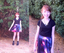 ♡ Mai Stor ♡ - Topshop Bag, Romwe Galaxy Skirt, Ebay Necklace, Ebay Errings - Galaxy wars