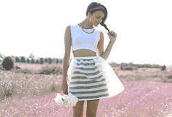 Julia Monson - Kastor & Pollux Striped Organza Skirt, Topshop White Crop Top, Thrifted Gold Chain - Kastor & Pollux