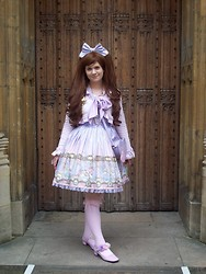 "Lorraine ""Luna"" K - Angelic Pretty Day Dream Carnival Jsk, Day Dream Carnival Bow, Angelic Pretty Dolce Ribbon Bolero, Gold Dangling Star Clip, Angelic Pretty Sugar Hearts Pochette, Bodyline Pink Otk Socks, Bodyline Lavender Shoes, Claire's Accessories Rose Clips, Chocomint Lavender Bow Ring - From Dreams to Reality"
