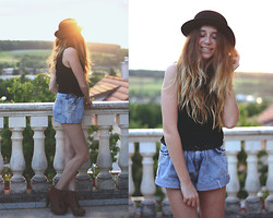 Francesca S - H&M Hat, H&M Top, High Waisted - White walls