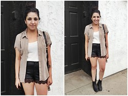 Felicia Renee - H&M Faux Leather Short Shorts, Free People Lace Short Shorts - To Sit and Stare and Ponder