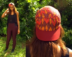 Alexa C - Forever 21 Ikat 5 Panel Hat, Charlotte Russe High Waist Pants, Sheer Back Tank, Leather Sneakers - 90s Baby