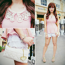 Jannelle O. - Korea Lace Collared Peplum, Bayo Lace Shorts, Call It Spring Lace Up Peep Toe Wedge, Korea Heart Quilted Chain Bag - At First Blush
